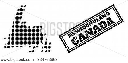 Halftone Map Of Newfoundland Island, And Rubber Seal. Halftone Map Of Newfoundland Island Made With