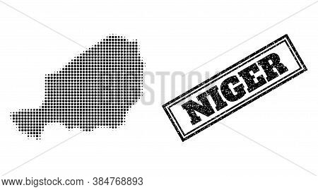 Halftone Map Of Niger, And Grunge Seal. Halftone Map Of Niger Generated With Small Black Round Eleme