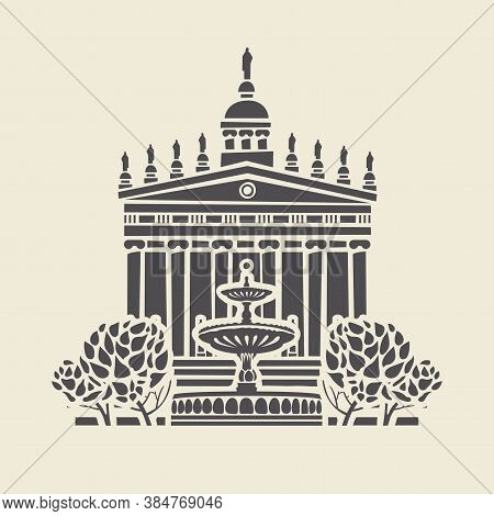 Icon Or Stencil Of A Stylized Old Building With Columns And Pediment, Trees And A Fountain. Decorati