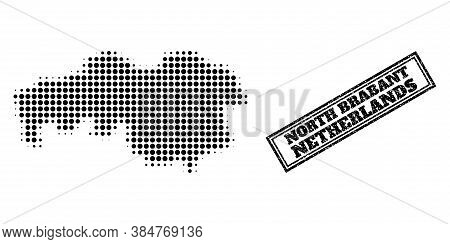Halftone Map Of North Brabant Province, And Unclean Seal Stamp. Halftone Map Of North Brabant Provin
