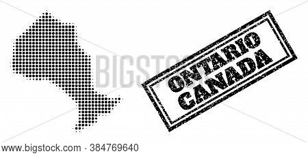 Halftone Map Of Ontario Province, And Rubber Seal Stamp. Halftone Map Of Ontario Province Constructe