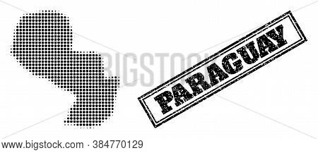 Halftone Map Of Paraguay, And Dirty Seal Stamp. Halftone Map Of Paraguay Designed With Small Black S