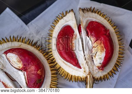 Fruits Of Sabah Borneo Called Durian Dalit And Its Flesh Is In Red Color. The Durian Dalit For Sell