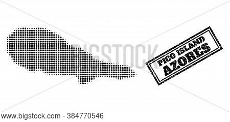 Halftone Map Of Pico Island, And Grunge Watermark. Halftone Map Of Pico Island Made With Small Black