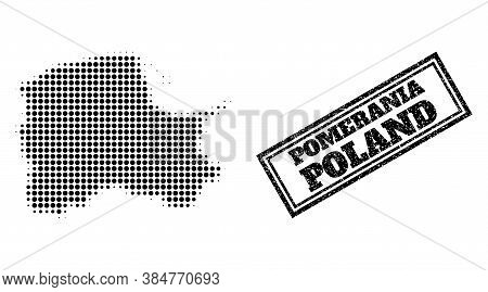 Halftone Map Of Pomerania Province, And Unclean Watermark. Halftone Map Of Pomerania Province Genera