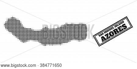Halftone Map Of Sao Miguel Island, And Unclean Seal Stamp. Halftone Map Of Sao Miguel Island Designe