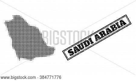 Halftone Map Of Saudi Arabia, And Unclean Seal. Halftone Map Of Saudi Arabia Generated With Small Bl