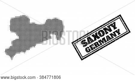 Halftone Map Of Saxony State, And Scratched Stamp. Halftone Map Of Saxony State Designed With Small