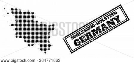 Halftone Map Of Schleswig-holstein State, And Grunge Seal Stamp. Halftone Map Of Schleswig-holstein