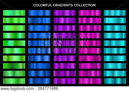 Colorful Gradients Collection. Green, Blue, Violet, Purple And Turquoise Texture Gradation Backgroun