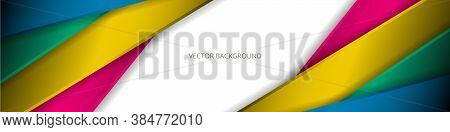 White Wide Abstract Background With Colorful Lines And Shadows. Modern Multicolored Light Wide Banne