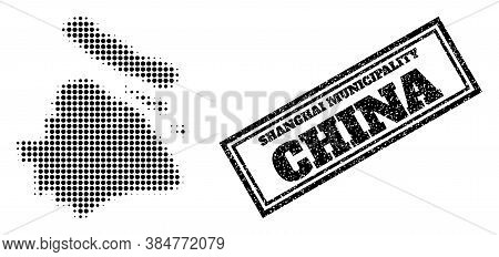 Halftone Map Of Shanghai Municipality, And Grunge Stamp. Halftone Map Of Shanghai Municipality Made