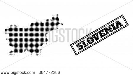 Halftone Map Of Slovenia, And Rubber Seal Stamp. Halftone Map Of Slovenia Designed With Small Black