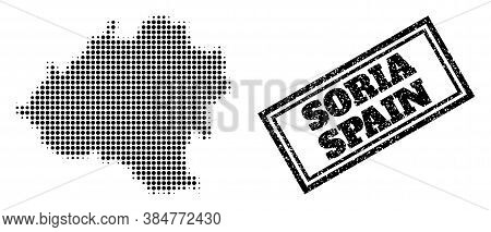 Halftone Map Of Soria Province, And Dirty Seal. Halftone Map Of Soria Province Made With Small Black