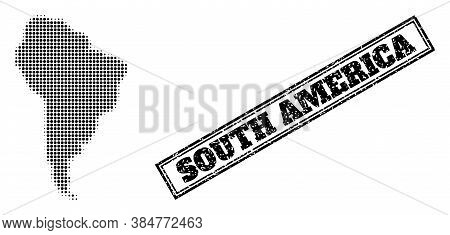 Halftone Map Of South America, And Grunge Watermark. Halftone Map Of South America Generated With Sm