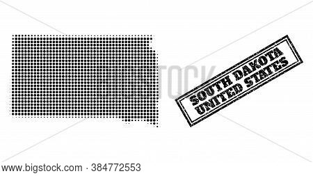 Halftone Map Of South Dakota State, And Unclean Seal Stamp. Halftone Map Of South Dakota State Gener