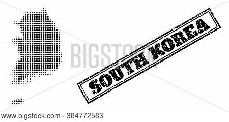 Halftone Map Of South Korea, And Rubber Watermark. Halftone Map Of South Korea Constructed With Smal