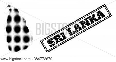 Halftone Map Of Sri Lanka, And Unclean Watermark. Halftone Map Of Sri Lanka Constructed With Small B
