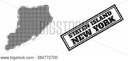 Halftone Map Of Staten Island, And Grunge Seal Stamp. Halftone Map Of Staten Island Generated With S