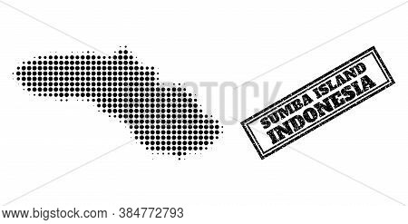 Halftone Map Of Sumba Island, And Scratched Watermark. Halftone Map Of Sumba Island Generated With S