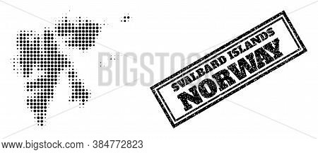 Halftone Map Of Svalbard Islands, And Unclean Seal Stamp. Halftone Map Of Svalbard Islands Construct
