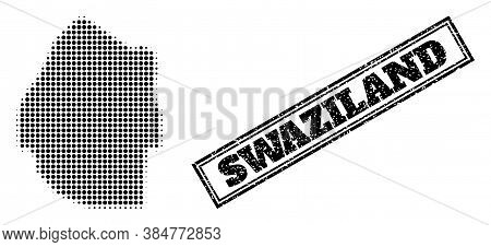 Halftone Map Of Swaziland, And Grunge Watermark. Halftone Map Of Swaziland Designed With Small Black