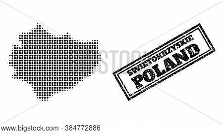 Halftone Map Of Swietokrzyskie Province, And Rubber Seal Stamp. Halftone Map Of Swietokrzyskie Provi