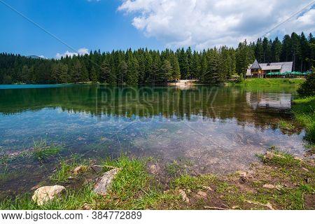 Zabljak, Montenegro - June 14. 2019. Black Lake In A Durmitor Park