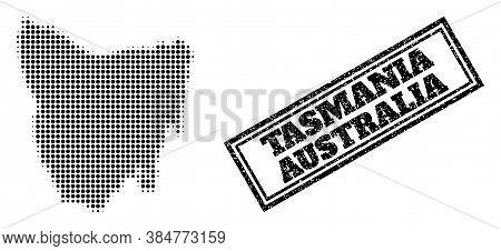 Halftone Map Of Tasmania Island, And Dirty Watermark. Halftone Map Of Tasmania Island Generated With