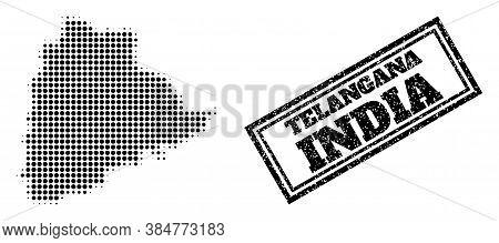 Halftone Map Of Telangana State, And Grunge Seal Stamp. Halftone Map Of Telangana State Made With Sm