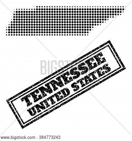 Halftone Map Of Tennessee State, And Scratched Seal. Halftone Map Of Tennessee State Generated With