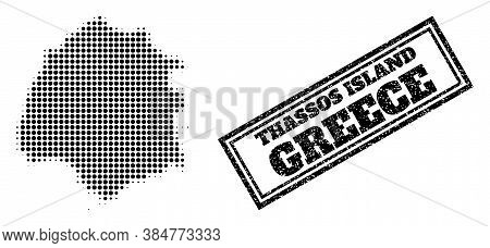 Halftone Map Of Thassos Island, And Grunge Watermark. Halftone Map Of Thassos Island Made With Small