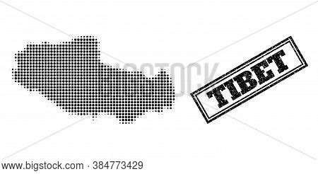 Halftone Map Of Tibet, And Scratched Seal Stamp. Halftone Map Of Tibet Designed With Small Black Cir
