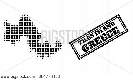 Halftone Map Of Tilos Island, And Scratched Seal Stamp. Halftone Map Of Tilos Island Generated With