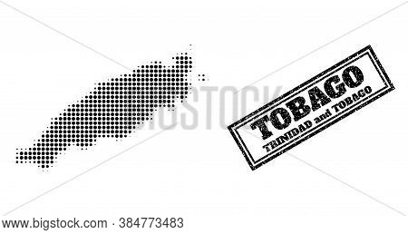 Halftone Map Of Tobago Island, And Rubber Seal Stamp. Halftone Map Of Tobago Island Constructed With