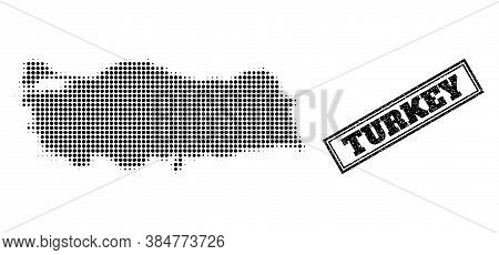 Halftone Map Of Turkey, And Rubber Seal Stamp. Halftone Map Of Turkey Generated With Small Black Rou
