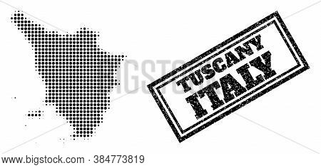 Halftone Map Of Tuscany Region, And Dirty Seal. Halftone Map Of Tuscany Region Made With Small Black