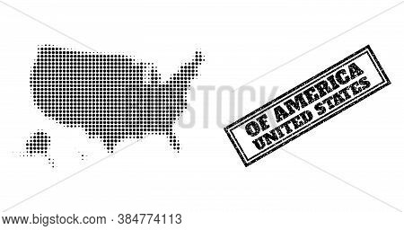 Halftone Map Of Usa Territories, And Rubber Watermark. Halftone Map Of Usa Territories Generated Wit