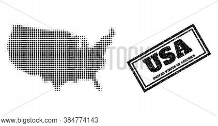 Halftone Map Of Usa, And Dirty Watermark. Halftone Map Of Usa Generated With Small Black Spheric Ele