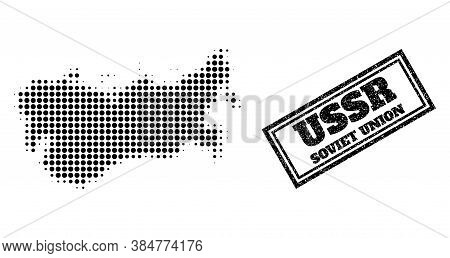 Halftone Map Of Ussr, And Grunge Seal Stamp. Halftone Map Of Ussr Constructed With Small Black Round