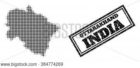 Halftone Map Of Uttarakhand State, And Scratched Seal. Halftone Map Of Uttarakhand State Constructed
