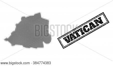 Halftone Map Of Vatican, And Unclean Seal. Halftone Map Of Vatican Made With Small Black Spheric Poi