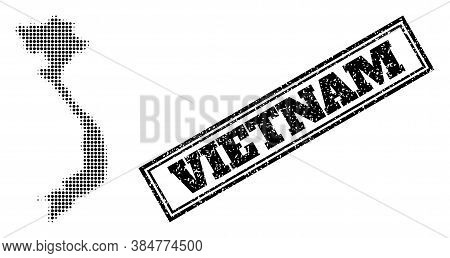 Halftone Map Of Vietnam, And Unclean Seal Stamp. Halftone Map Of Vietnam Generated With Small Black