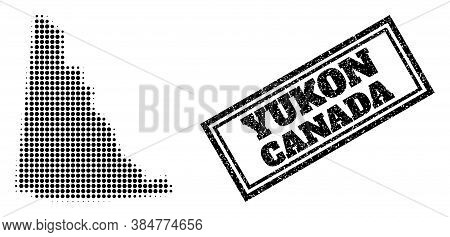 Halftone Map Of Yukon Province, And Grunge Seal. Halftone Map Of Yukon Province Constructed With Sma