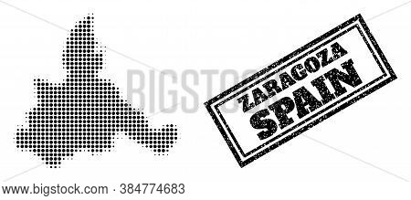 Halftone Map Of Zaragoza Province, And Unclean Seal. Halftone Map Of Zaragoza Province Designed With