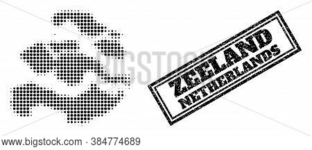 Halftone Map Of Zeeland Province, And Unclean Seal Stamp. Halftone Map Of Zeeland Province Designed