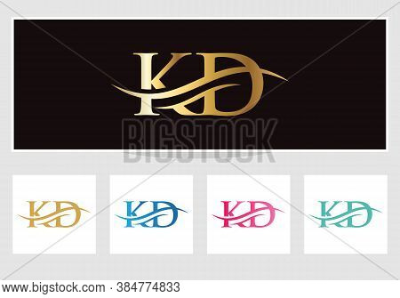 Initial Kd Logo Swoosh Design. Vector Kd Logo For Business And Company Identity