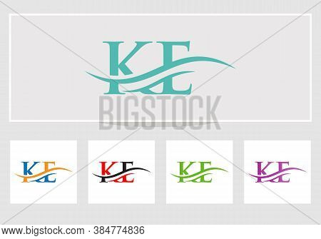Minimal Ke Logo Design Swoosh. Ke Logo For Business And Company Identity