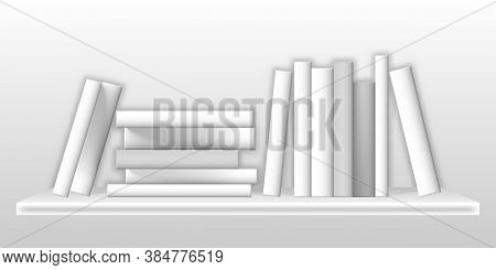 White Mockup Of Books On Bookshelf. Realistic Blank Paperback Volumes On Shelf, Standing In Row And