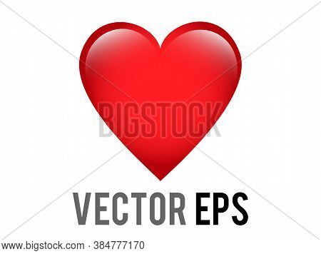 Vector Classic Love Red Glossy Heart Icon, Used For Expressions Of Love Passion And Romance